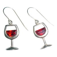 A Glass of Merlot Wine Glass Sterling Signed Earrings