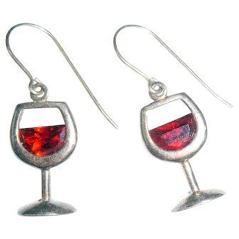 A Glass of Merlot Wine Glass Sterling Signed Earrings