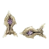 Sterling Silver Cloud Swimming Dolphin Earrings - Amethyst Teardrop