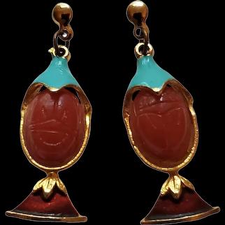 Vintage Di'Orios Egyptian Revival Scarab Earrings