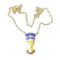 Vintage Cloisart Egyptian Queen Nefertiti Enamel Necklace