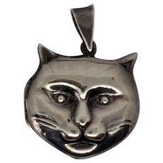 Sterling Silver 3D Puffy Cat Head Locket Pendant