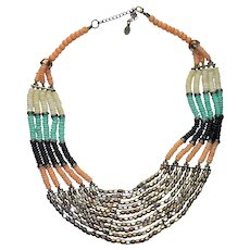 Bohemian Necklace Pink Blue White Black Gold Beads