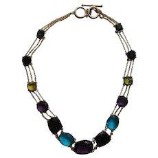 Stunning Multi-Colored Rhinestone Necklace