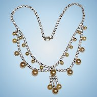 Coro Rhinestone & Pearl Necklace