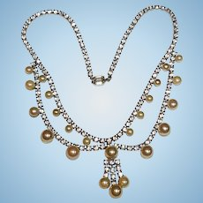 Coro Rhinestone & Pearl Necklace