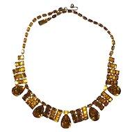 Sparkling Kramer Amber Yellow Rhinestone Necklace