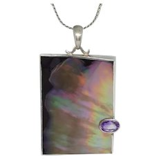Vintage Marta Howell Paua Abalone Sterling Necklace with Amethyst Oval