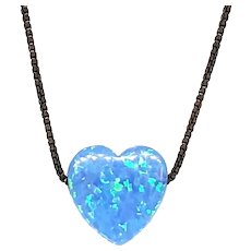 Heart Shaped Fire Opal Necklace