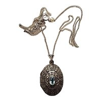 Sterling & Marcasite & Blue Topaz Locket with Chain