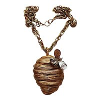 Signed Erwin Pearl Beehive Necklace with Bee