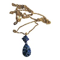 Joan Rivers Blue Rhinestone Faberge Egg Necklace
