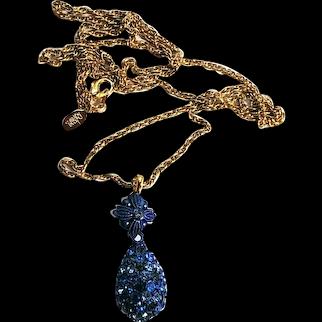 Joan Rivers Blue Rhinestone Faberge Egg Necklace