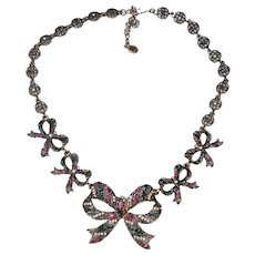 Coro Rhinestone Bow Necklace