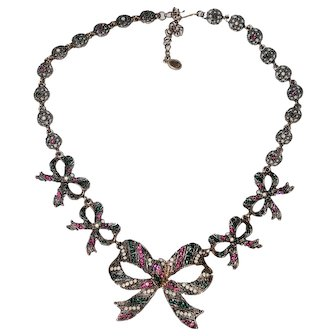 Coro Rhinestone Bow Necklace