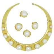 Made in America Faux Pearl Collar & Earrings