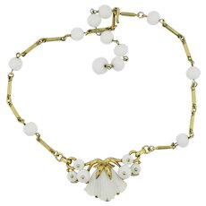 Trifari White Glass Necklace