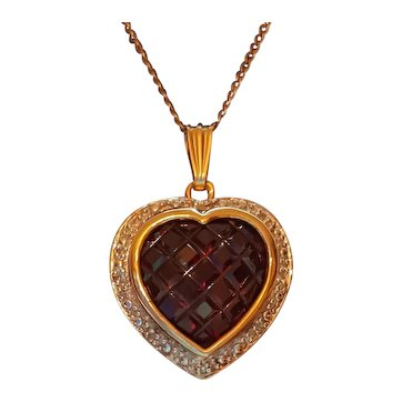 14Kt Gold Diamond & Ruby Invisible Set Heart Necklace