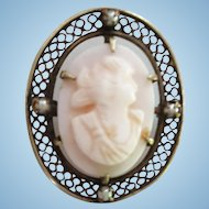 Cameo & Seed Pearl Pin - Signed