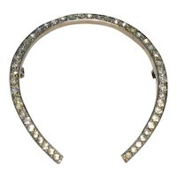 FISHEL, NESSLER & CO Sterling Crystal Horseshoe Brooch