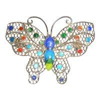 Silver Mesh & Enamel Butterfly Pin