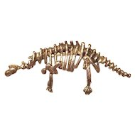 Sterling Dinosaur Skeleton Pin
