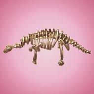 Sterling Dinosaur Skeleton Pin
