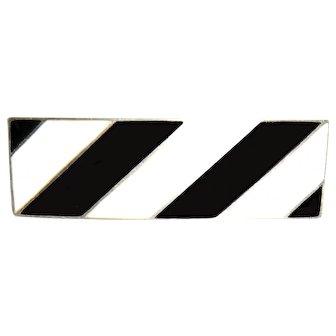Black & White Enamel Over Sterling Poland Pin