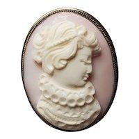 Elizabethan Collar on Lady Cameo Pin/Pendant Silver