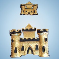 Trifari Castle Pins in Original Box