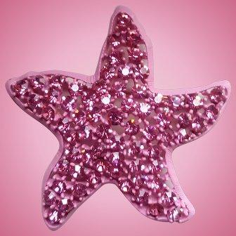 Weiss Pink Rhinestone Starfish Pin