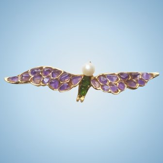 Swarovski Bird in Flight Pin Purple & Green