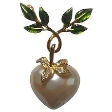 Joan Rivers Dangling Heart Pin