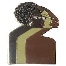 Signed Sisterhood of Women Figural Pin