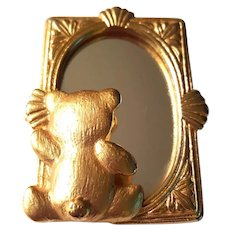 Teddy Bear in a Mirror Signed Figural Pin