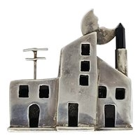 Sterling Adobe 3 Dimensional House Pin