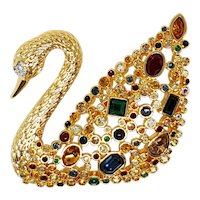Swarovski 100 Year Celebration Figural Swan Brooch Original Boxes