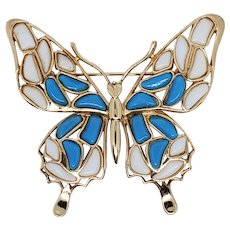 1960s Crown TRIFARI Mosaic Blue & White Poured Glass Butterfly Brooch