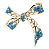 Vintage Trifari Mosaic White Blue Molded Glass Bow Pin