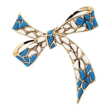 Vintage Trifari Mosaic White Blue Molded Glass Bow Pin