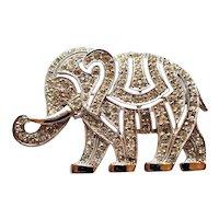 Hattie Carnegie Rhinestone Elephant Pin