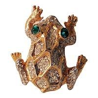 Kenneth J Lane Frog Brooch - Green Eyes and Clear Rhinestones
