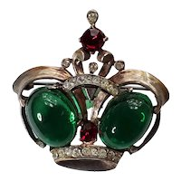 Sterling Red & Green Rhinestone Crown Pin