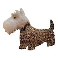 Vintage Coro Glass Head Scottie Scottish Terrier Dog Pin