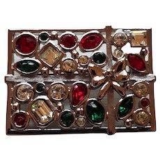 Lia Sophia Red, Clear, Green Rhinestone Christmas Present Pin