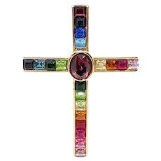 Vintage Signed PSCO Rainbow Colored Bezel-Set Rhinestone Cross Brooch
