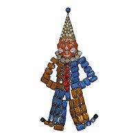 Ges Gesch Czechoslovakia Rhinestone Filled Clown Pin