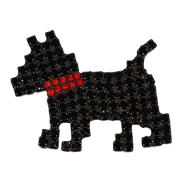 Bauer Black Rhinestone Dog Pin
