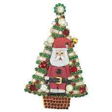 Huge Santa Christmas Tree Pin by BG