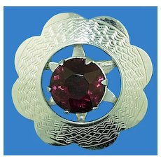 Mizpah Purple Rhinestone Pin